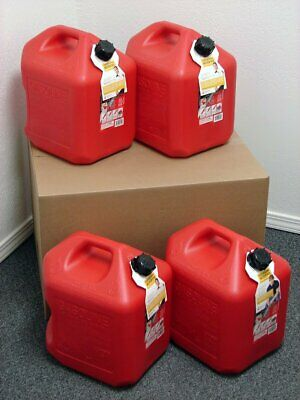 5 Gallon Gas Can, 4 Pack, Spill Proof Fuel Container – New! – Clean! – Boxed! Business & Industrial