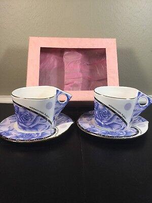 MODERN NAREMOA STUDIO Blue Roses Triangle Handles Cups Oval Saucers Tea Set (Oval Cups & Saucers)