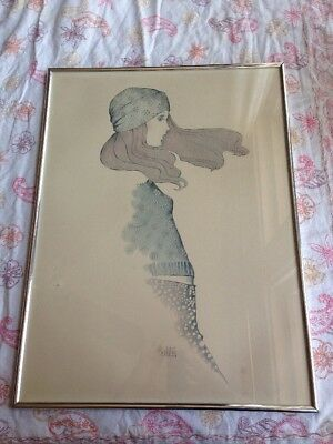 A Gruerio Vintage 60s Fashion Hippie Girl Framed Art Print Woman in Hat