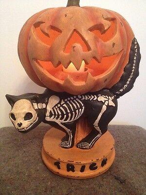 Bethany Lowe Halloween Skeleton Cat--retired-- Tea Light Included