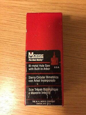 "Morse Bi-Metal Hole Saw With Built-In Arbor 7/8"" 22mm Brand New"