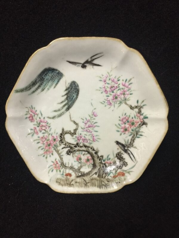 Chinese Antique Famille Decorated  Dish With Iron Red Seal