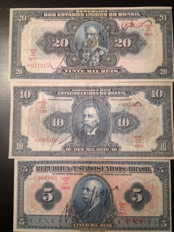 Reproduction Set Brazil Brasil 1925 1931 5 10 20 Milreis Currency Bank Notes