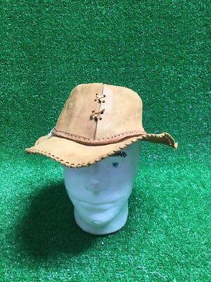 Crocodile Dundee Tan Leather Fedora / Cowboy Hat USA Costume Fits On Mannequin (Crocodile Cowboy Hat)