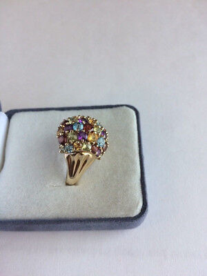 (10K Yellow Gold Multi Color Stone Cluster Ring Size 6 3/4 HSN TESTED WOW!)