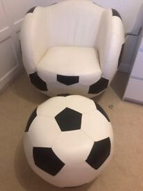 Leather Football Chair with Foot Stall