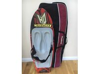 Red HO Kustom Kneeboard with foam knee pads and knee strap. Comes with bag.