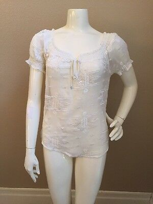 Willow & Clay Ivory Sheer Lace Embroidered Cap Sleeve Peasant Blouse S NWT!