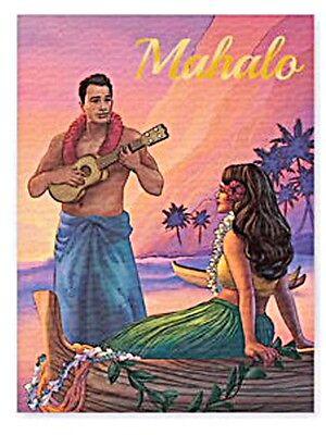 HAWAIIAN HULA GIRL UKULELE SERENADE MAHALO THANK YOU STATIONERY NOTE CARDS BOX8