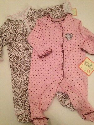 Baby Girl Size Newborn 3 9 Months Outfit Set Coverall Cheetah Print Layette (Newborn Printed Coverall)