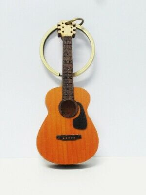 WOODEN CRAFT LASER CUT MINIATURE GUITAR KEYCHAIN RING ACOUSTIC MUSIC YELLOW 6.5""