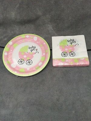 Girl Baby Shower Plates And Napkins (Lot of Baby Girl Baby Shower Napkins (20) And Plates (18) SEALED)