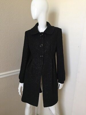 Helene Berman London NEW! Black w/ Metallic Flecks Lined Wool Coat M NWOT!