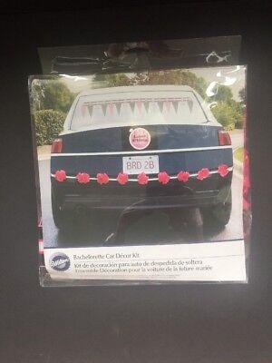 Bachelorette Car Decorations (Wilton Bachelorette Car Decor Kit Garland Pompons Car Cling Black Pink &)