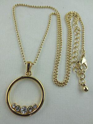 Gold Plated Graduated Crystal Rhinestone Circle Pendant Necklace
