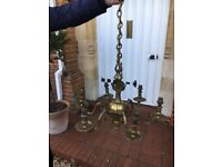 Old solid brass chandelier