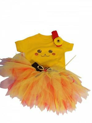 Pokemon Baby Toddler Tutu Skirt 80s Fancy Dress Rhinestone Top Vest Book Week