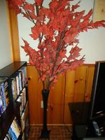 Tall Metal Vase with Artificial Maple Leaf Branches