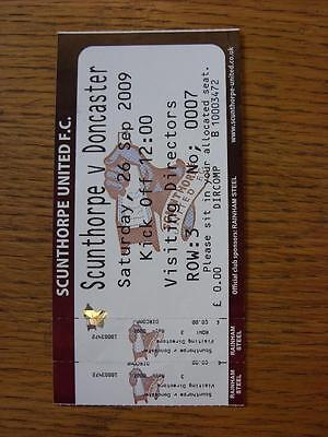 26/09/2009 Ticket: Scunthorpe United v Doncaster Rovers [Visiting Directors] (co