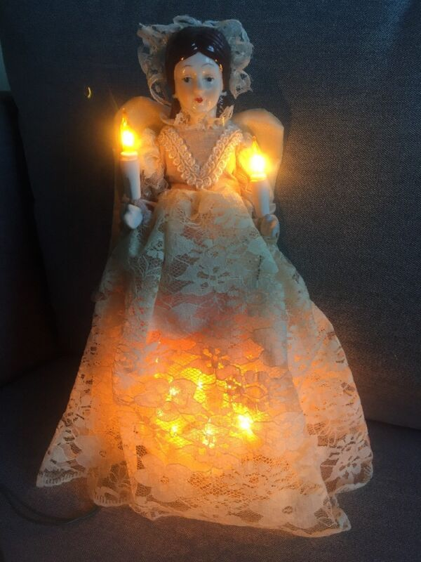 Victorian Angel Light Up Christmas Tree Topper, Lace