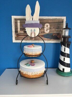 "Bunny Wrought Iron - Longaberger Snowman Wrought Iron Large Easter Bunny Basket Combo 22"" MINT"