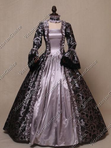 Renaissance Gothic Brocade Ball Gown Theater Dress Ghost Halloween Costume 119