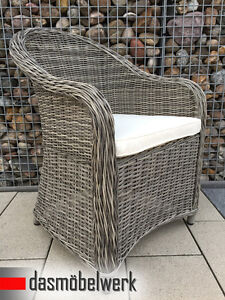 4x polyrattan sessel stuhl terrassenm bel rattan gartenm bel gartenstuhl grau ebay. Black Bedroom Furniture Sets. Home Design Ideas