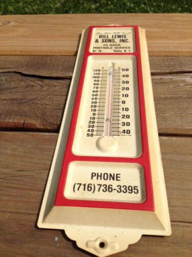 Vtg Bill Lewis Metal Thermometer Advert 24 Hour Portable Ripley NY Rt 76 Rod USA