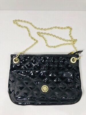 ANNE KLEIN Black QUILTED Medium Size Handbag Clutch Purse Gold Chain Strap