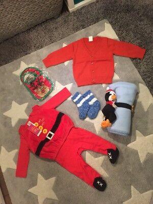 Baby Christmas Bundle 3-6 Months outfit blanket socks jumper Unisex Boys Girls