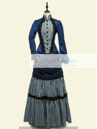 Victorian Edwardian Striped Mary Poppins Bustle Dress Downton Abbey Theater 139