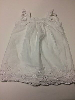 The Childrens Place Baby Girls Dress White Sleeveless Cut Out 6-9 Months