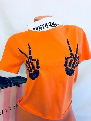 Victoria's Secret PINK Halloween Skeleton Bling Hands Shrunken Graphic Tee~Sz - Victoria Halloween Party