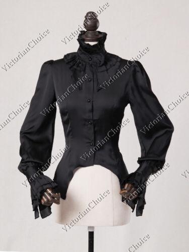 Women Victorian Gothic Black Frock Blouse Shirt Steampunk Halloween Costume B013