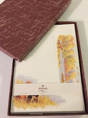 Vintage Hallmark Stationery Boxed Set Autumn Dogs & Ducks 25 Sheets 15 Envelopes