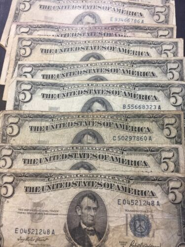 1953 Well Circulated Five Dollar ($5) Silver Certificate Bill - Buying 1 Note