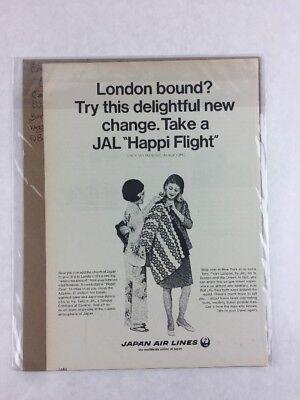 Japan Air Lines Vintage Art Print Collectible Advertisement 7.5 x 11