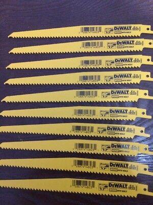 "10 Pack Dewalt 9"" 6 TPI Bi-metal Sawzall Blades Reciprocating Saw Plunge Point"