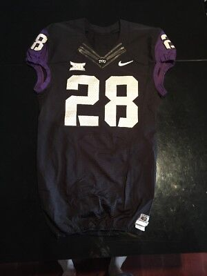cb5cb916aad Game Worn Used Nike TCU Horned Frogs Football Jersey #28 Size 42
