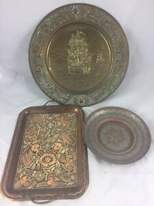 3 Old Trays And Plates Hanging Ornaments Brass And Copper