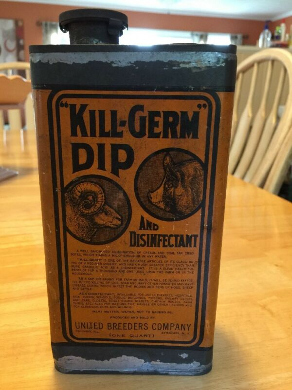 ANTIQUE CAN Kill Germ Dip And Disinfectant One Quart Very Rare Can