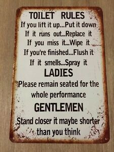TOILET RULES  Tin Metal Sign Rustic Look MAN CAVE Brand New AU SELLER