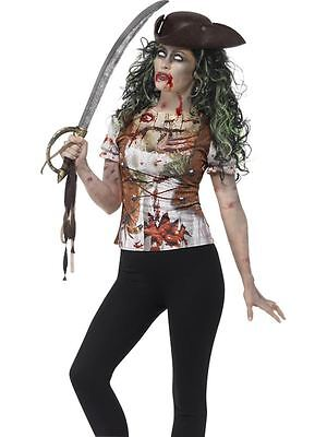 Zombie Piratenbraut T-Shirt, Klein, Halloween Kostüm, Damen, UK 8-10