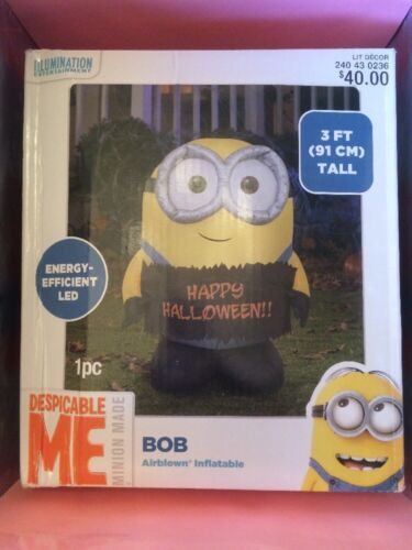 Gemmy 3 Ft Minion Bob Happy Halloween Sign Light Up Airblown Inflatable