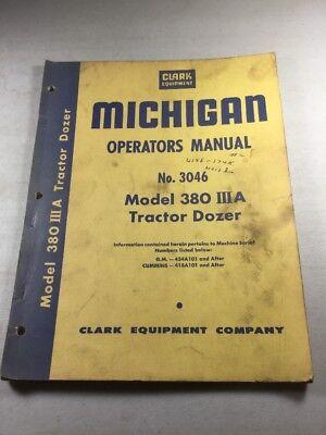 Michigan-clark Equipment Model 380 Iiia Tractor Dozer Operators Manual