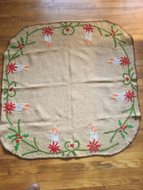 "Vintage Burlap Embroidered Christmas Tablecloth/skirt Handmade 44"" Square"