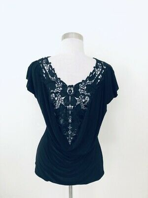 《Boston Proper》Black Lace Back Draped Top•Sz-M•♡SO Pretty!♡ - Pretty Proper