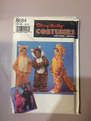 Simplicity 8584 Sew Pattern Costumes Tiger Bear Halloween child S-l UNCUT New
