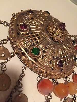 100+ Years Old Antique Greek Gilded Filigree Belly Dancing Belt w. Bhati Stones
