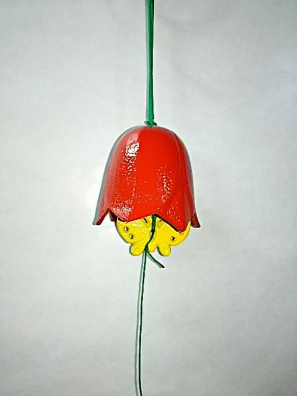 Furin Wind Chime  Bell Nanbu Cast Iron Handcraft Tulips Red Made in Japan